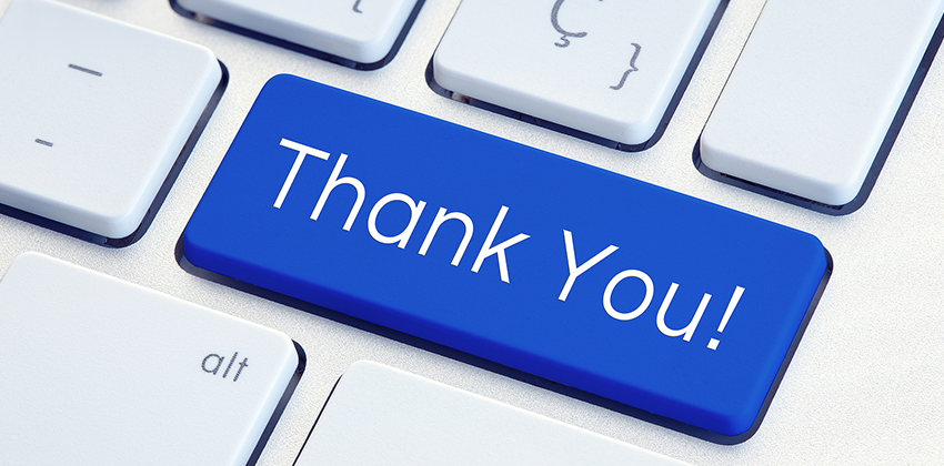 a keyboard with a key that says Thank You!